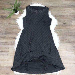 [Nine West] Gray Striped Lace Neckline Lined Dress